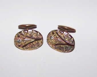 Beautiful VINTAGE Cuff Links Multi Color Gold With Stone Bean-Back