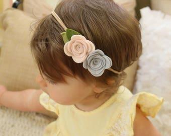 Felt Rose Flower Nylon Headband - CHOOSE ANY COLORS, 40+ Colors / Felt Flower Headband / Felt Rose Headband / Flower Headband / Felt Rosette