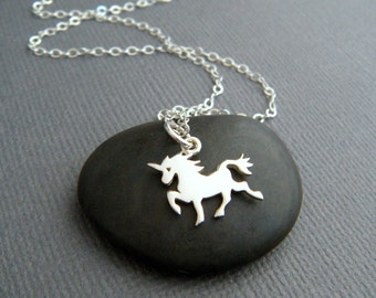 tiny sterling silver unicorn necklace dainty whimsical pendant small girly charm fairytale fairy tale fun jewelry unique gift tween her 1/2""