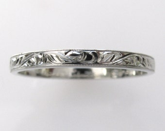 Hand Engraved Vine and Leaf Wedding Anniversary Engagement Band