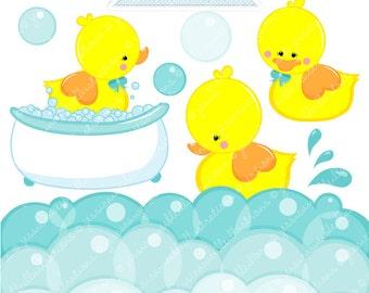 Yellow Rubber Duckie Cute Digital Clipart - Commercial Use OK - Digital Rubber Duck Graphics - Yellow Duck Clipart