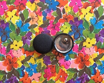 Fabric Button Earrings / Wholesale Jewelry / Black / Handmade Gifts / Small Studs / Solid Color Earrings / Bulk Earring
