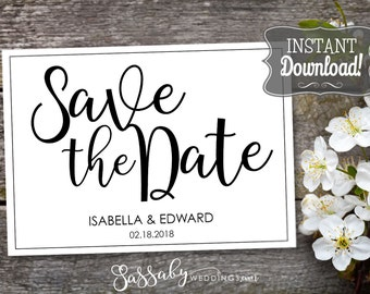 Save the Date Wedding Card - INSTANT DOWNLOAD - Partially Editable Printable, Black & White, Wedding Stationery, Flat Cards Sassaby Weddings