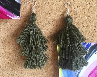 3 Tier Tassel Earrings, Fringe Statement Earrings, Autumnal Olive Green Earrings