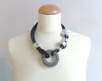 Tribal black grey statement necklace