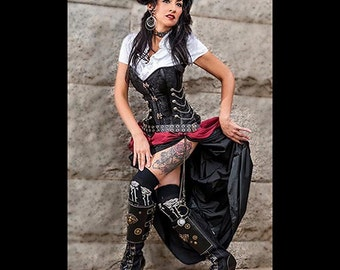 Ready to Ship 3 pc Steampunk Black Corset w/Double Bustle long Black, short wine Skirts Dress Black wine black Victorian Costume Goth