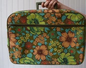 1960's Vintage Suitcase, Flower Power, Vintage Home Decor,Laptop Bag, Carry on Bag, Carry on Luggage, For Women, Case, Tote