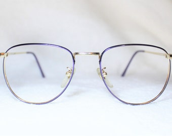 Vintage Liz Claiborne Womens Eyeglass Frame, New Old Stock, Goldtone and Purple Eyeglass Frame, NOS Designer Eyeglass Frame, 52-18-140, It 2