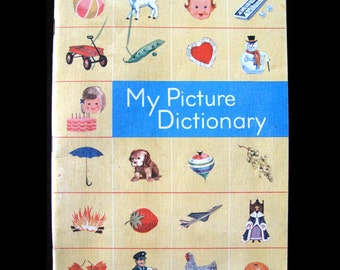 1960s Vintage Picture Dictionary Childrens Ginn School Book, Cute Colorful Illustrations, Kids First Dictionary Paper Ephemera