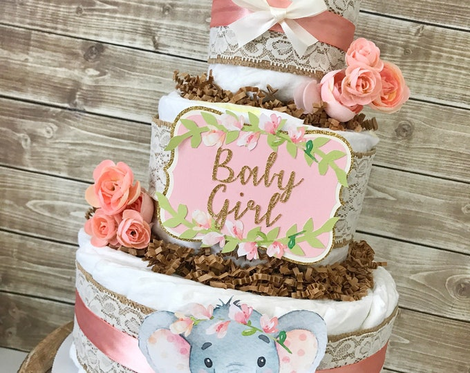 Featured listing image: Floral Elephant Diaper Cake, Elephant Baby Shower Centerpiece for Girls, Elephant Baby Shower Decorations in Pink
