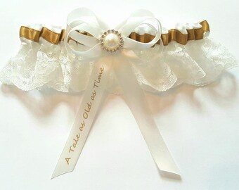 Beauty and the Beast Tale as Old as Time Satin/Satin and Lace/Garter Set- Add your own wording