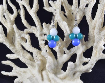 Handmade White, Blue, and Turquoise Fused Glass Earrings with Surgical Steel Loops