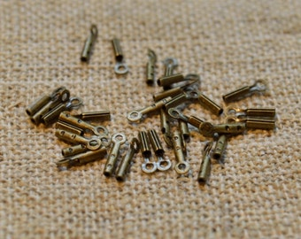 100pcs Crimp Cord Ends Tip Antiqued Gold Plated Brass 4x1mm Tube With Loop 0.5mm Hole