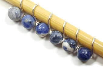 Stitch Markers for Lace Knitting - Blue Sodalite Mobius - Stitch markers - Small, Medium, or Large