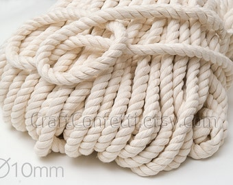Nautical rope 10mm Beige cotton rope Natural color cotton cord Twisted thick rope Decoration rope Craft supplies Nautical decor / 5 meters