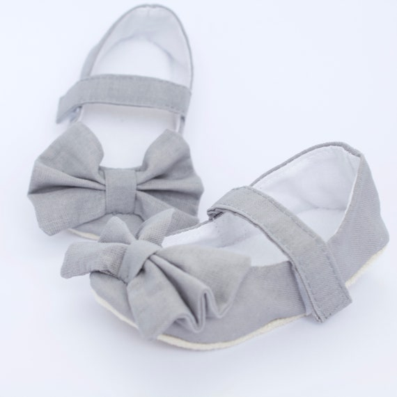 light grey Mary Jane soft sole baby girl shoes, with over sized bow