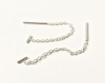 Threader Earrings - Sterling Silver - T Bar Chain Threader Earrings - Long Earrings