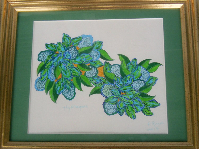 Blauen Hortensien Buntstift Zeichnung Original OOAK abstrakte