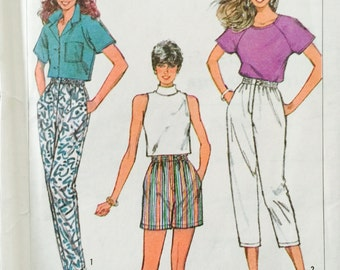 Simplicity 7905, Size 10-12-14-16, Misses' Pants in Two Lengths and Shorts Pattern, UNCUT, Easy to Sew, Vintage 1986, Retro