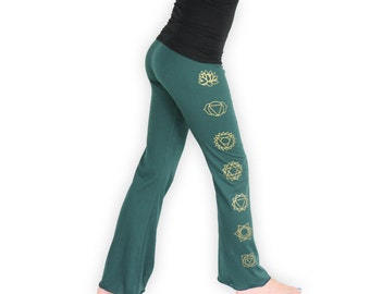Chakra Yoga Pants - Lightweight 7 Chakra Yoga Pants- Boot Cut Flare- LPB1 - Teal