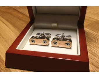 Full Custom Sterling Silver Cycle Chain Cufflinks (See Example Photo's) Your Chain