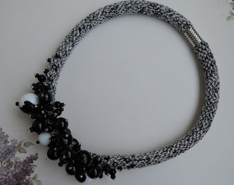 Handmade crochet white silver black beaded neclase