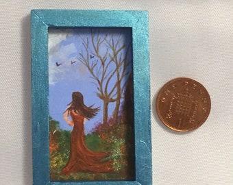 Original miniature artwork in handmade blue frame