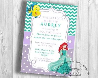 Princess Ariel Birthday Party, Little Mermaid Birthday Party Invitation,  Little Mermaid Printable Birthday Party Invitation