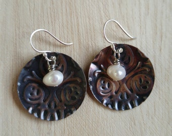 Freshwater Pearl and Copper Disc Earrings