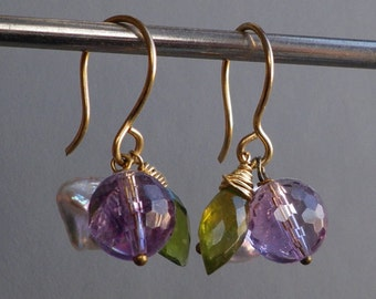 Amethyst Keishi Pearl Green Vesuvianite Gold Dangle Earrings