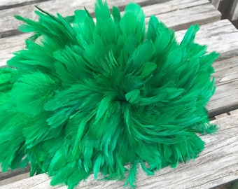 Schlappen feathers 3-5  inch length, Kelly green-rooster feathers- Craft, Tahitian costume supply