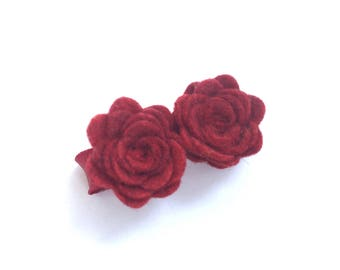 Flower hair clip - felt hair clip, hair bows, hair bow, bow, hair clips, hair bows for girls, baby bows, baby hair clips, hairbows, red bows