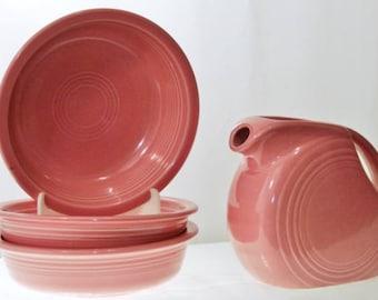 Fiestaware Rose Pink Cereal Bowls Three Homer Laughlin China