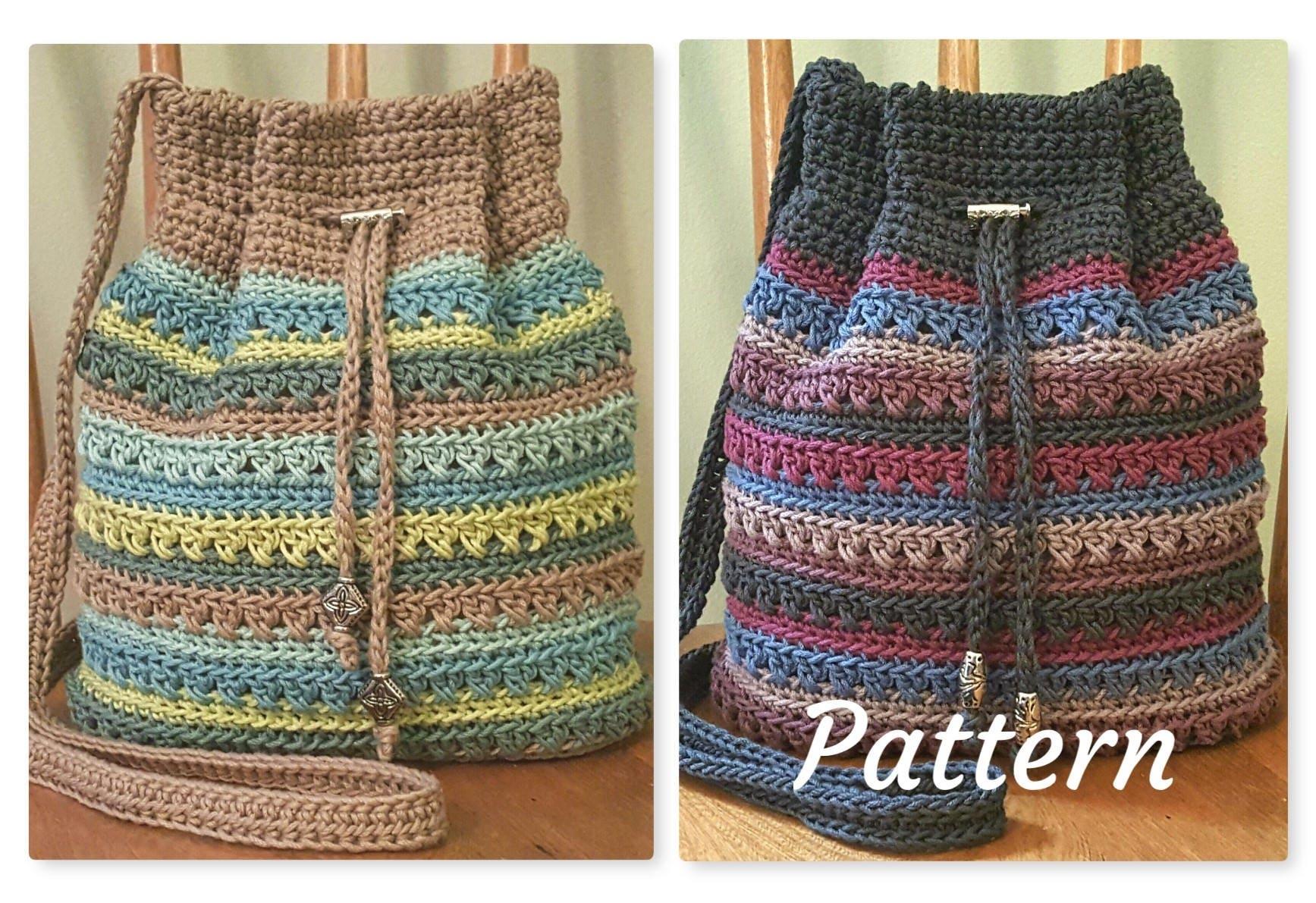 Crochet PATTERN Crisscross Drawstring Bag DIY Crossbody Bag from ...