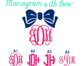 Monogram with Bow -- Many different styles & lots of colors!