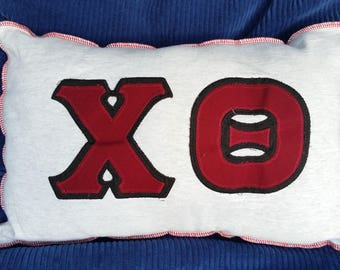 XO-Upcycled Safe-Sex Pillow, w/ Condom & Lube Pockets, OOAK, gray, red, maroon, love, valentine, Theta Chi fraternity, kiss, hug