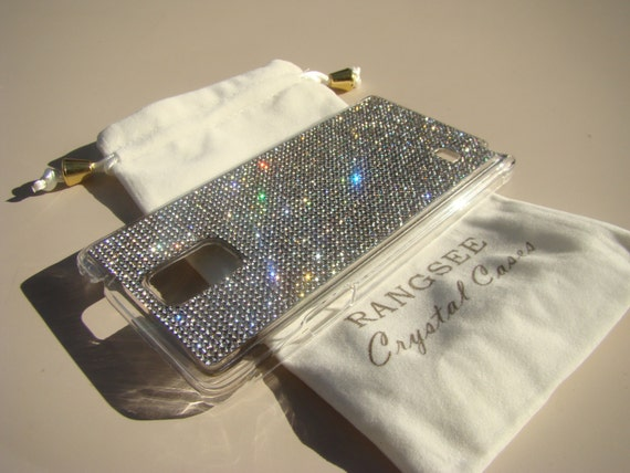 Galaxy Note 4 Case Clear Diamond Crystals on Clear Transparent Case. Velvet/Silk Pouch Bag Included, Genuine Rangsee Crystal Cases.