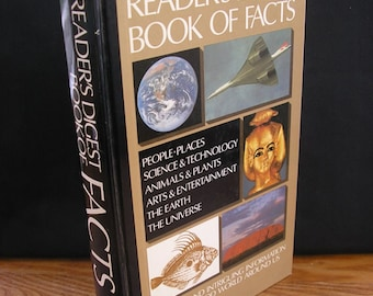 Vintage book Readers Digest Book of Facts 1980s reference book information knowledge for pub quiz quizzes 89