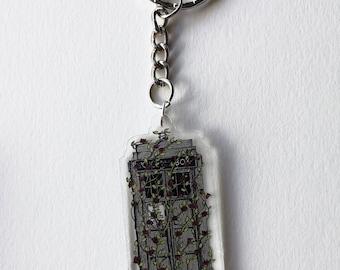 Rose Tardis acrylic keychain
