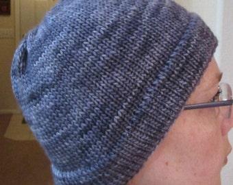 Handmade Double Knit Brim Merino Wool Hat/Beanie in Gray