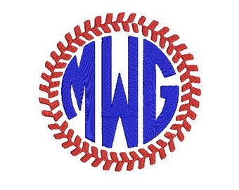 Baseball Softball Stiches Frame Design File for Embroidery Machine Monogram Instant Download