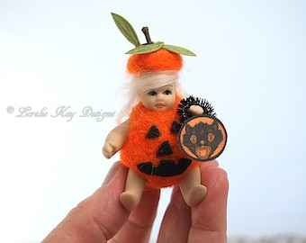 Tiny Pumpkin Baby Miniature Needle Felted Tiny Jointed Blonde Girl Doll Lorelie Kay Original