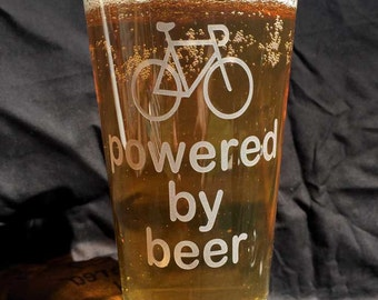 Bike powered by beer pint glass