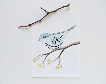 Watercolor painting, bird painting, ORIGINAL painting, henna bird, blue bird art, abstract bird, bird in branch, sweet bluebird painting