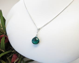 Emerald Quartz Necklace, Green Gemstone Necklace In Sterling Silver, May Birthstone, Emerald Pendant, 16-19 Inches Length, Emerald Jewelry