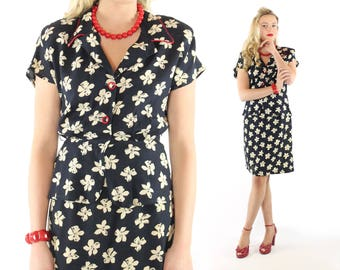 80s does 40s Peplum Dress Navy Blue Floral Rayon Short Sleeves Vintage 1980s 1940s Pinup Rockabilly Medium M Jennifer Morgan
