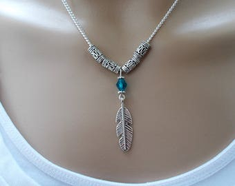 boho necklace silver feather necklace boho jewellery silver necklace blue bead necklace feather jewellery gift for women festival jewellery
