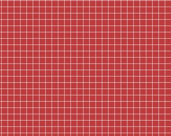 Windham Coast to Coast by Whistler Studios Collection Red Grid # 43008-2 half yard, Free Shipping