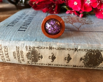 real purple wildflowers and wood ring, gift for her