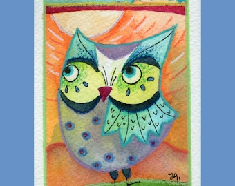 The Weary Traveler - Archival Art Print 3.5x5 Owl